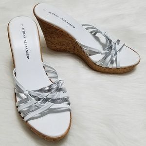 Athena Alexander Open Toe Wedges White and Grey 9